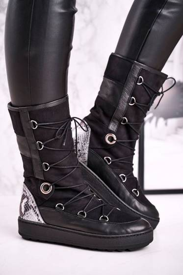 Snow Boots With Fur Suede Black Laura Messi 2054