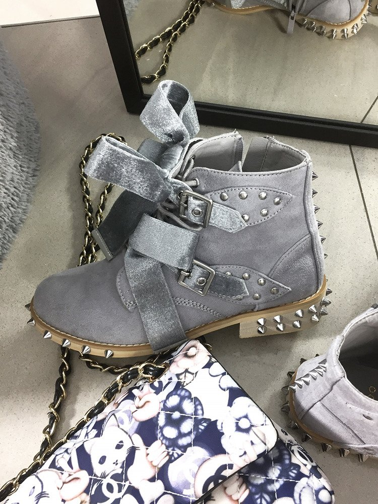LU BOO GREY ANKLE STUDDE BOOST WITH CUTE BOW