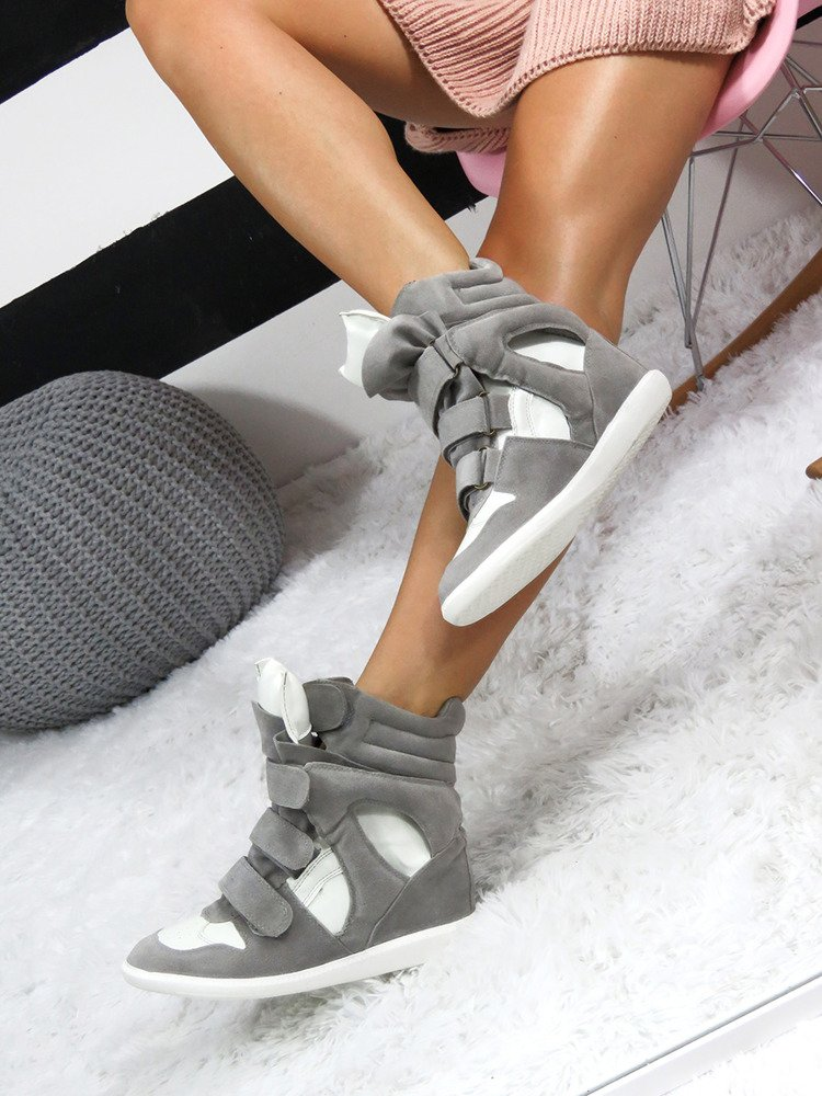LU BOO GREY FAUX SUEDE WEDGE SNEAKERS WITH VELCRO