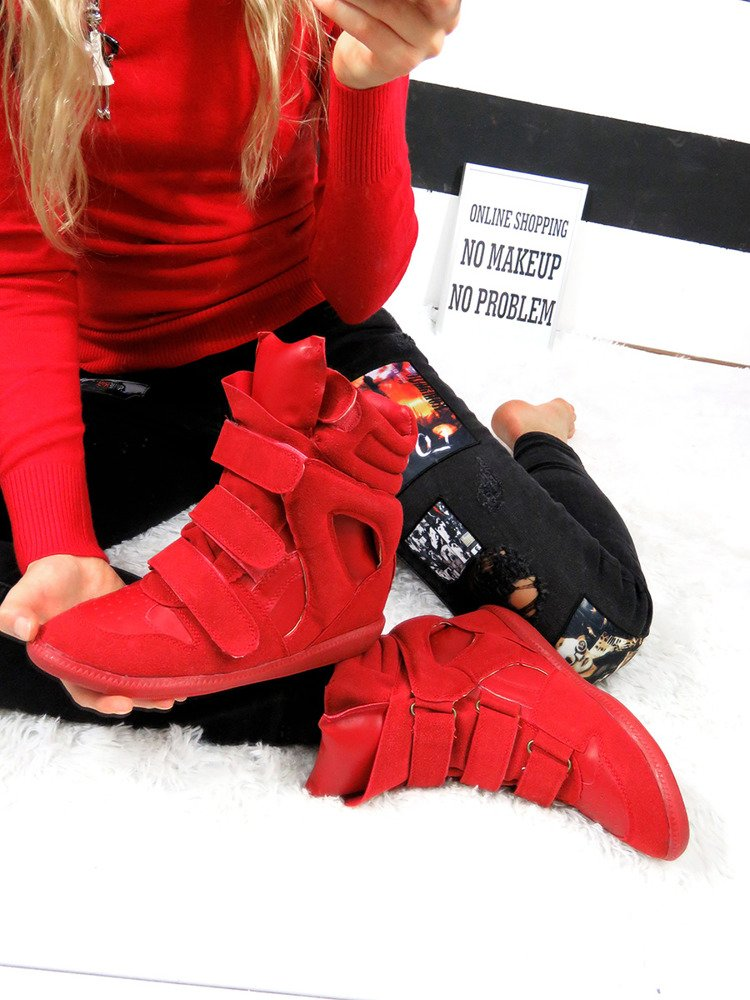 LU BOO RED FAUX SUEDE WEDGE SNEAKERS WITH VELCRO