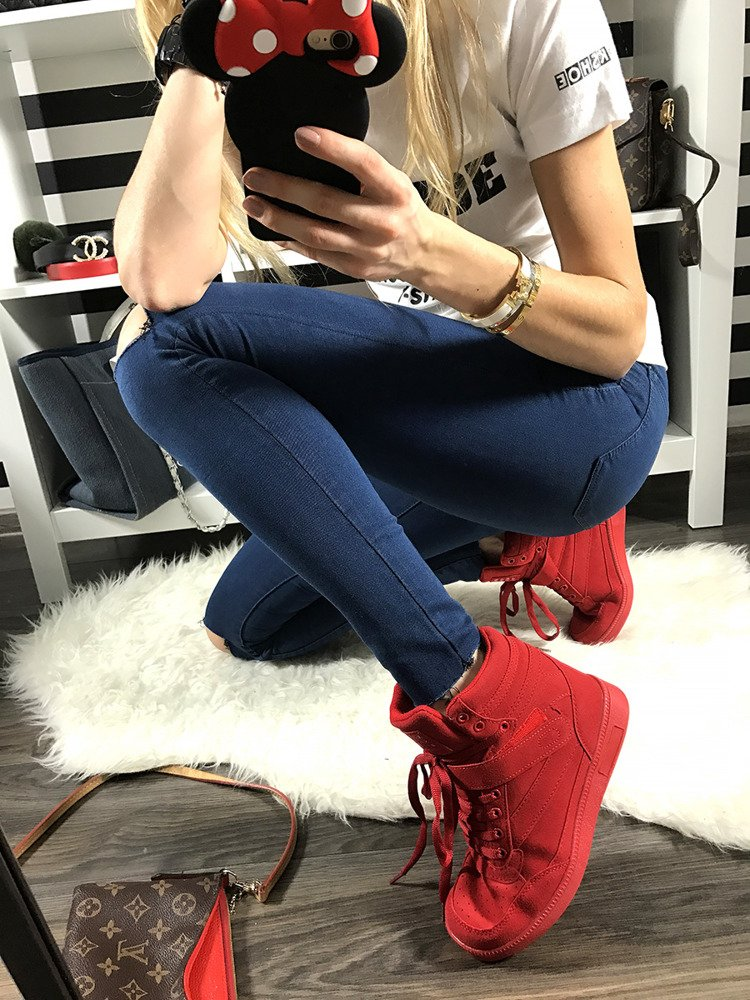 LU BOO RED OPENWORK SNEAKERS WITH HIDDEN WEDGES MADE OF FAUX SUEDE