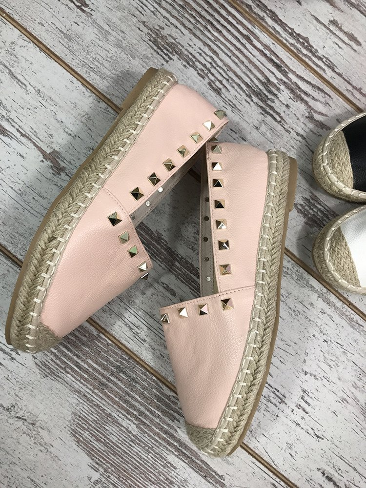 POWDER PINK ESPADRILLES WITH STUDDS
