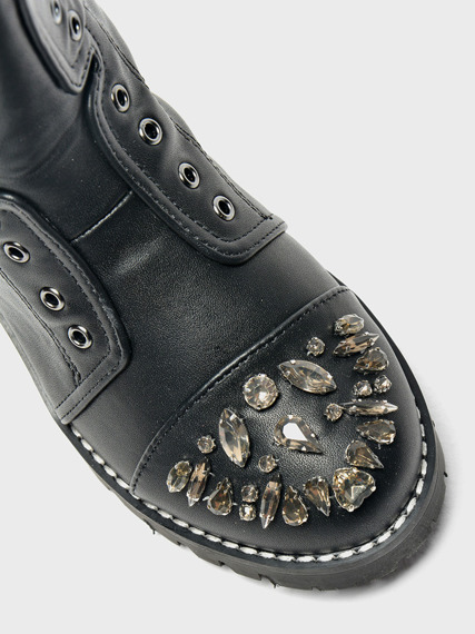 Black Kids Work Boots with Glitter Jewels