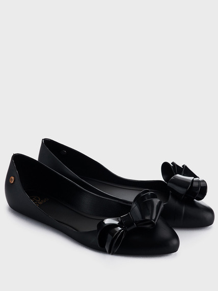 Black Rubber Ballerinas Bow