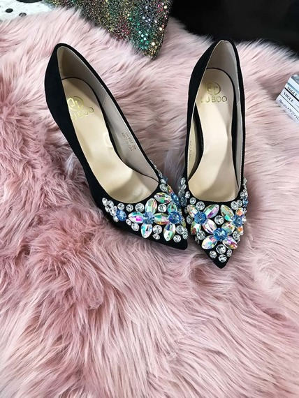 Black Shiny Gem Stone High Heels