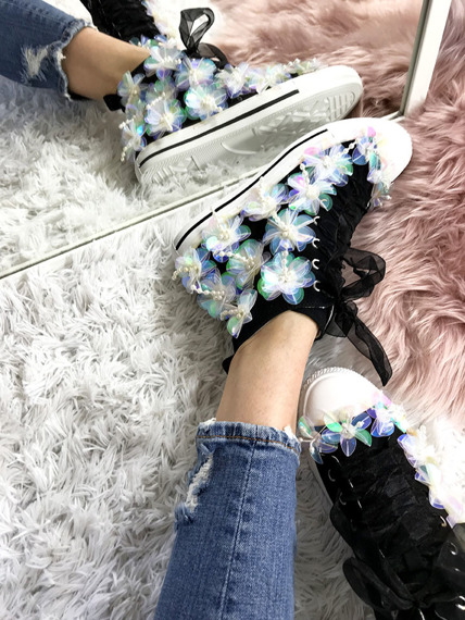 Black high top sneakers Sequins