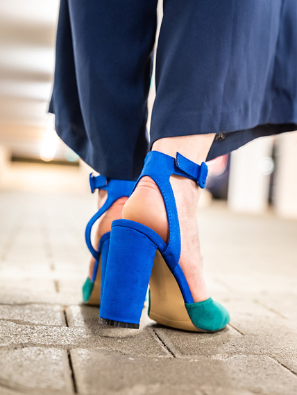 Blue-green Block Heels Sandals Leone