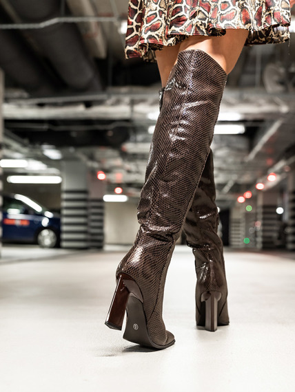 Brown Elegant Knee High Boots