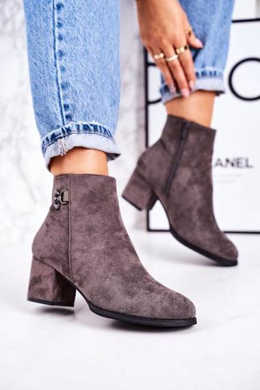 Classic Women's Insulated Boots On A Heel Grey Success