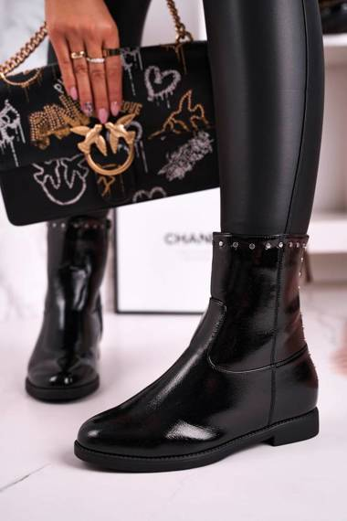 Classic Women's Insulated Boots With Studs Shiny Black Performance