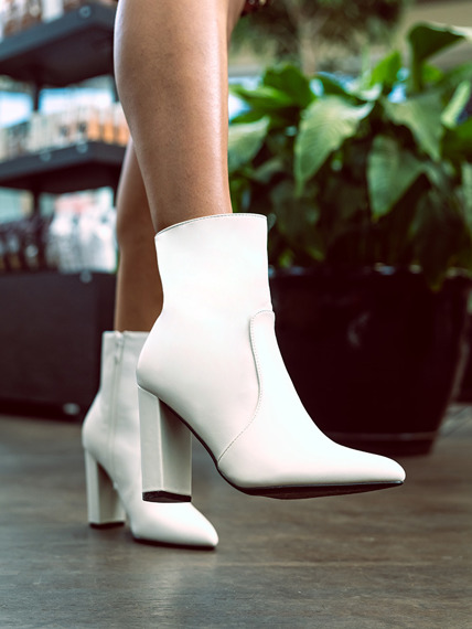 Classic white ankle boots