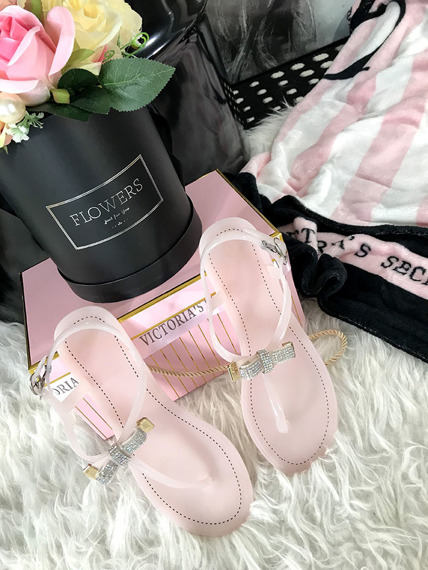 Flip Flop Pink sandals with crystals Lili