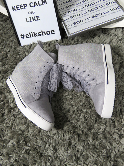 Grey Faux Suede Sneakers Shoes Spike Crystals