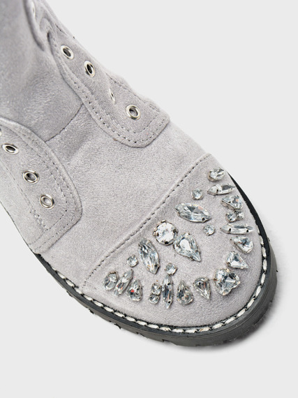 Grey Kids Work Boots with Glitter Jewels