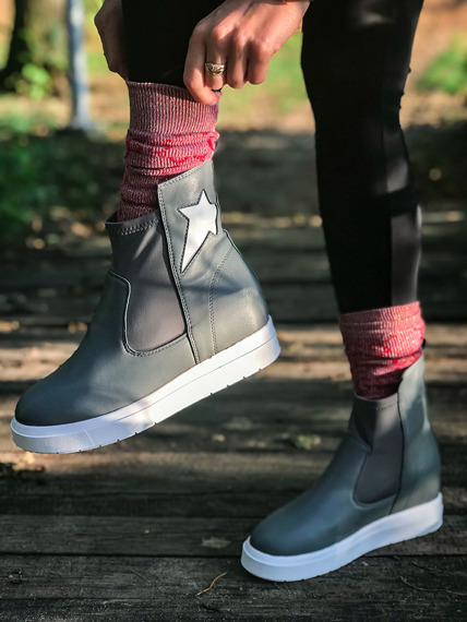 Grey Slip On Sneakers wedges Star