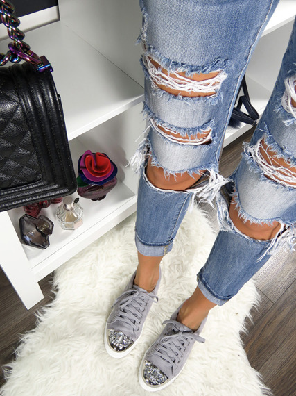 Grey sneakers with glitter jewels
