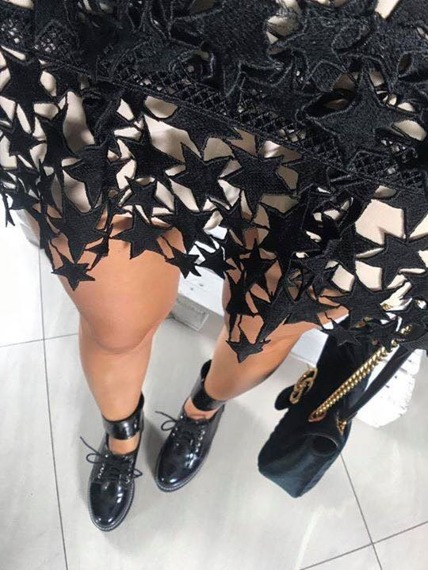 LU BOO BLACK PATENT CUT OUT BOOTS Superpowers