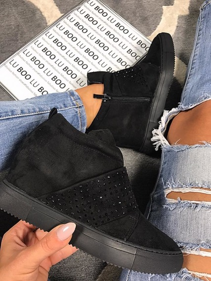 BLACK HIDDEN WEDGE SNEAKERS