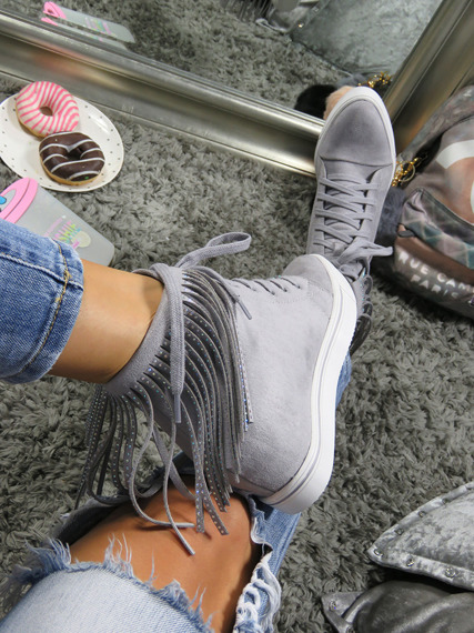 Grey Sneakers Wedge Fringe