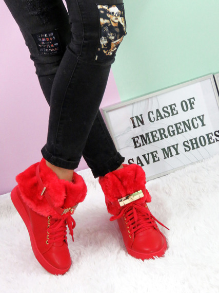 Hi Top Warm Red Sneakers Gold Key & Padlock