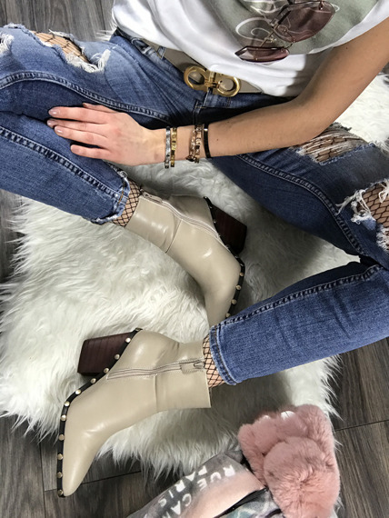 Beige Ankle Boots Studded Cowboy