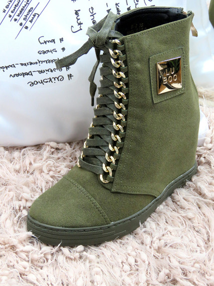 LU BOO Olive SNEAKERS TRAINERS WEDGES CASSI