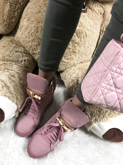 LU BOO PINK FAUX SUEDE WEDGE SNEAKERS GOLD KEY & PADLOCK