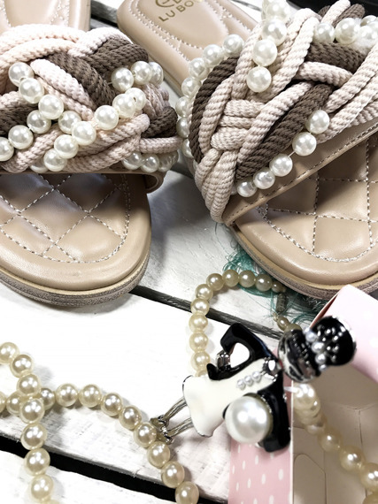 LU BOO Pearls Slide Mules Sandals
