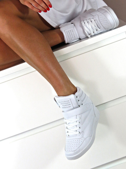 LU BOO WHITE OPENWORK SNEAKERS WITH HIDDEN WEDGES LACES AND VELCRO