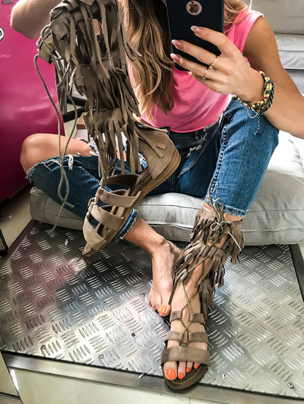 Lace Up Open Toe Flat Gladiator Sandals
