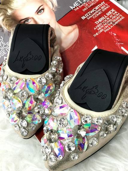 Lu Boo gold ballerina shoes with glossy crystals