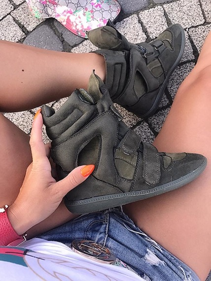 Olive Faux Suede Wedge Sneakers Alvino