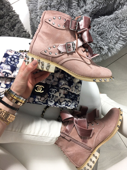 Pink Ankle Studded Boots Lola