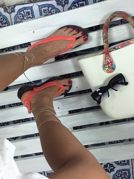 Pink Gold Lace Up Gladiator Sandals