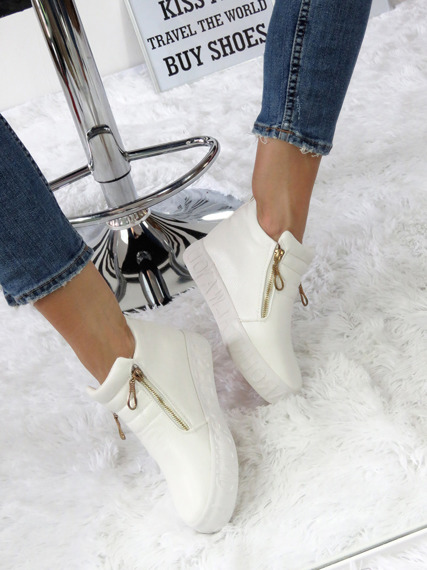 WHITE SNEAKERSY TRAINERS WEDGES SLIP ON
