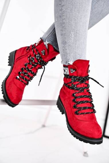 Women's Boots Flat With Zipper Red Popsi