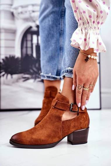 Women's Boots On Heel With Cutouts Camel Sicily