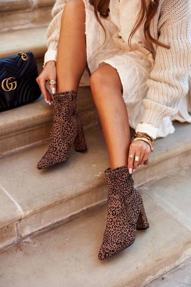 Women's Boots On High Heel Camel Panther
