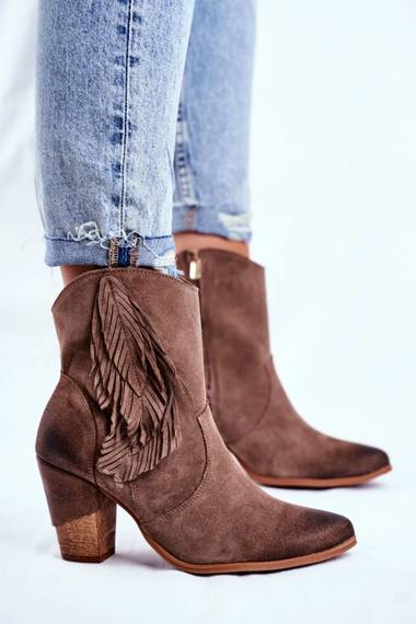 Women's Boots On High Heel Leather Cappuccino Quintana