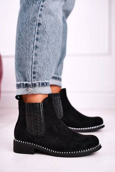 Women's Chelsea Boots With Studs Suede Black  Meagan