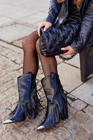 Women's Cowboy Boots With Fringes Black Jessica