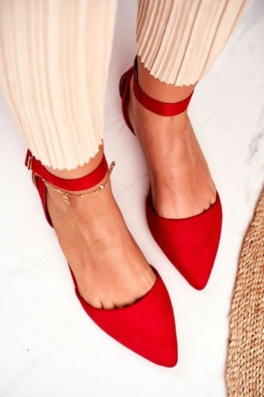 Women's Flat Ballerinas With A Belt Red Allison