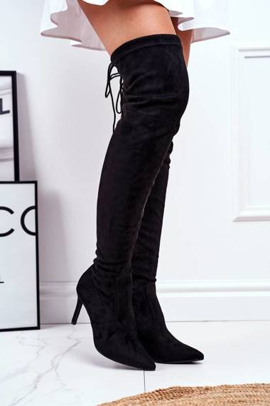 Women's High Boots Suede Black Huanto