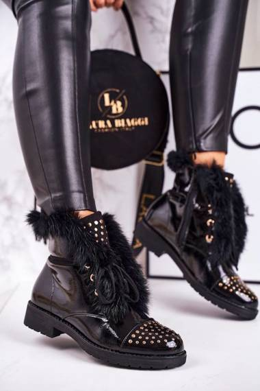 Women's Insulated Boots With Studs And Fur Shiny Glam