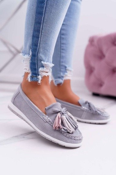 Women's Loafers Leather Suede With Fringes Grey Batist