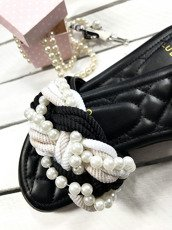 Black Flip-Flops with pearls