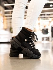 Black Micro Chunky Lace-Up Sneakers