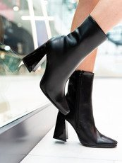 Black Square Toe Block Heel Ankle Boot