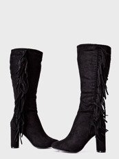 Block heel long boots Fringe