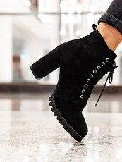 Classic black Lace Up Chunky Ankle Boot
